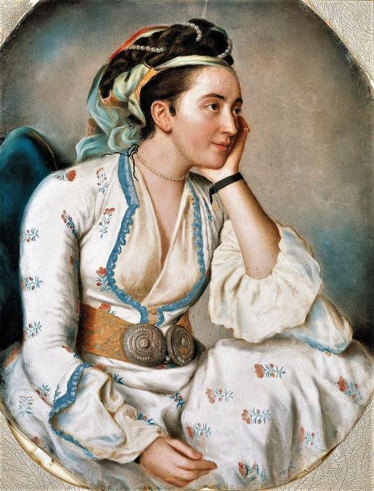 Женщина в турецком платье    62 х 47    пергамент, пастель    Стамбул, Музей Пера (534x700, 156Kb)