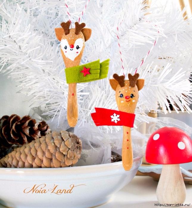 Рождественский олень - подвеска из деревянной ложки (7) (645x700, 342Kb)
