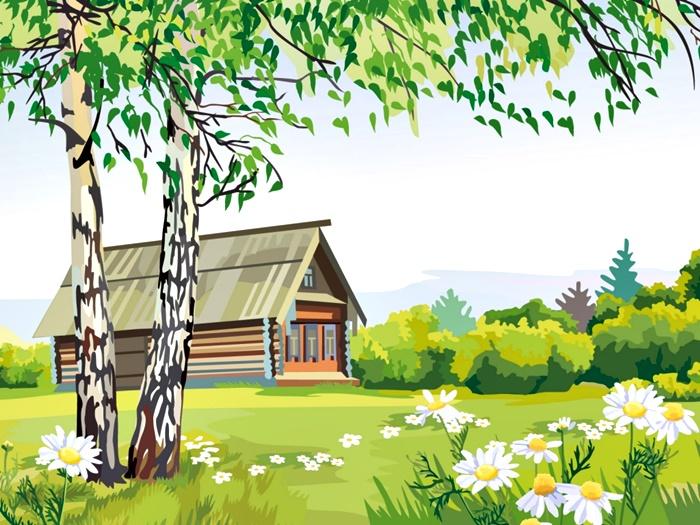 Рисунок пейзажа с домом