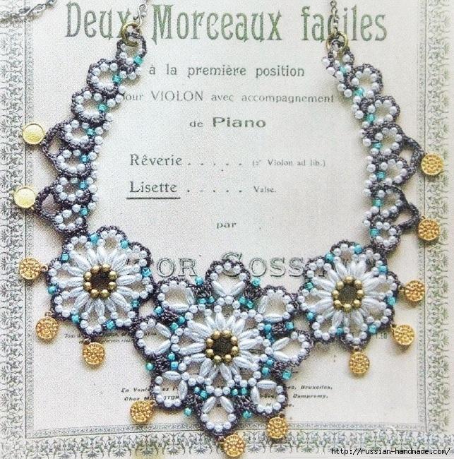 Нарядное ожерелье из бисера. Схема (1) (643x650, 455Kb)