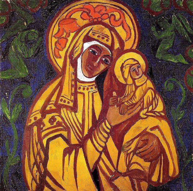 Богородица с младенцем 1911 (640x632, 769Kb)