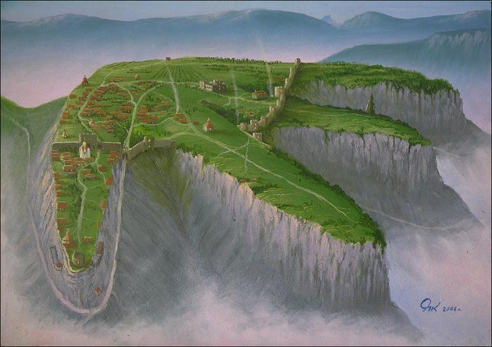 Мангуп. Реконструкция художника из Ходжа-Сала. (700x493, 437Kb)