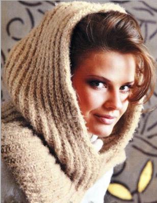 шарф-капюшон спицами(308x398, 337Kb)