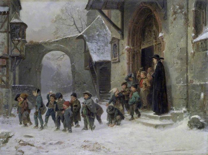 Benjamin Vautier the elder - Snow Scene. Children Leaving School 1853  (700x522, 396Kb)