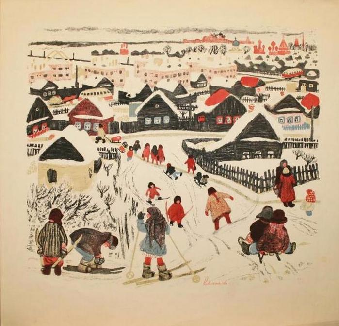 Калинычева К.И.  - Зимний день (1965) (700x671, 413Kb)