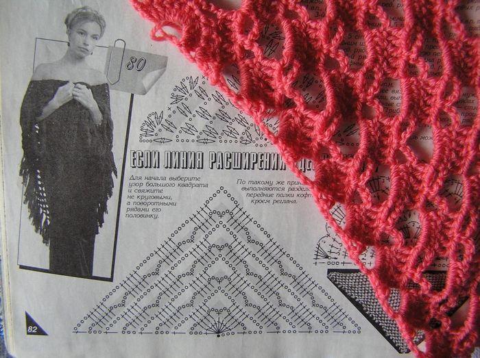 Вяжем платок крючком схемы с фото