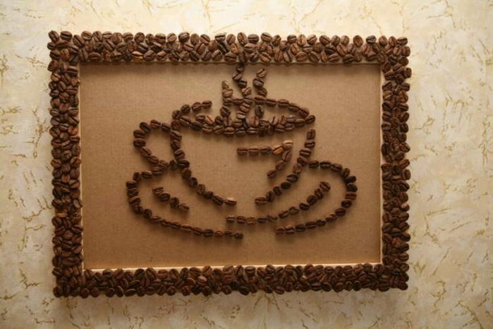 Поделки из кофейных зерен для рамок