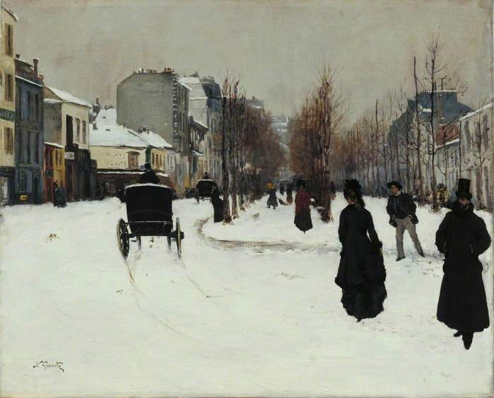 The Boulevard de Clichy under Snow (Le Boulevard de Clichy, par un temps de neige) (700x563, 41Kb)