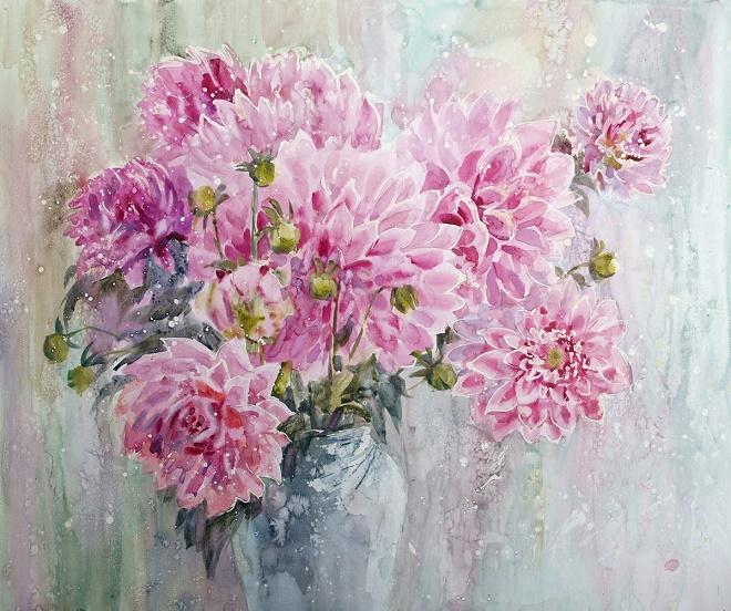 Розовые георгины. Из серии Цветочная феерия (660x552, 465Kb)