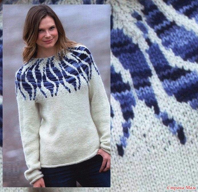 Пуловер с жаккардовой кокеткой
