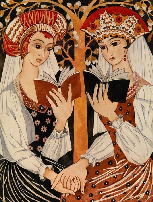 +Две русских девы. 1920 (533x700, 528Kb)