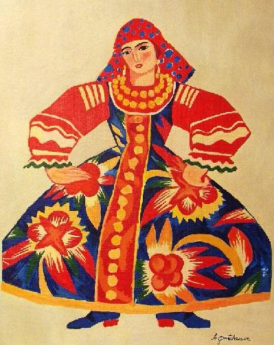 Картина для балета Золотой петушок (Женщина в платье). 1914-1919 (399x502, 315Kb)