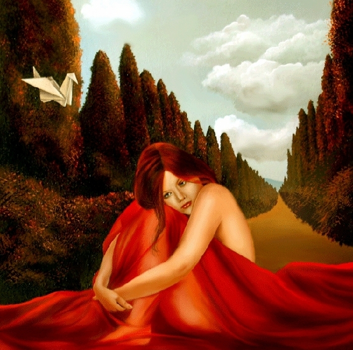 Red Dreams - Brita Seifert 1963 - Dutch Surrealist painter - Tutt'Art@ - (18) (700x694, 552Kb)