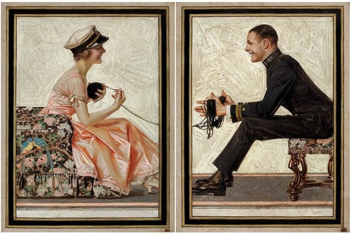 Диптих Попугайчики (Lovebirds, The House of Kuppenheimer Style Book advertising diptych)_66 х 53.3 каждая_х.,м._Частное собрание (700x466, 291Kb)
