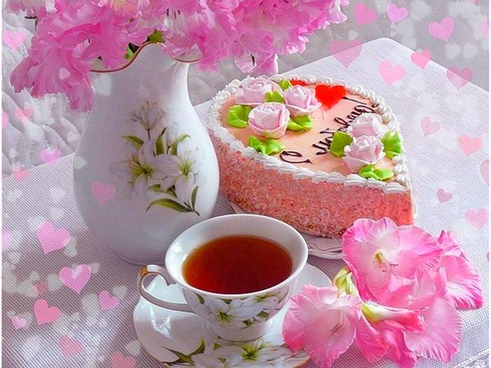 Чай тортик цветы фото