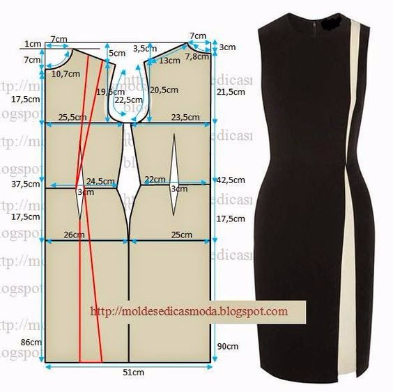 Выкройка платьица футляра 42 размера