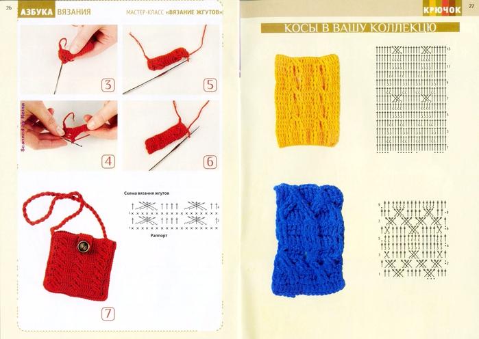 Вязание крючком косичка в картинках