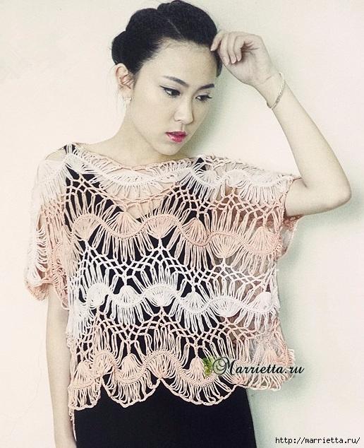 Вязание на вилке. Летняя блуза (1) (516x634, 250Kb)