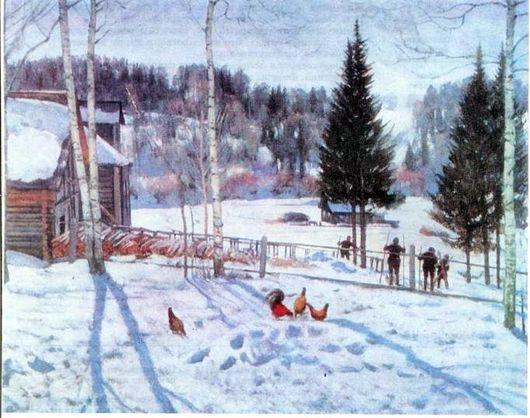 Константин Юон «Конец зимы Полдень» (530x418, 214Kb)