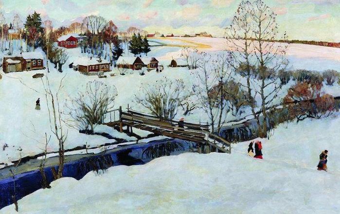 7 Юон К. Ф. Зима. Мостик. 1914 (700x440, 409Kb)