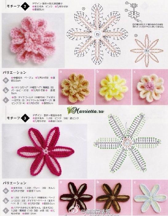 Схемы круглых цветочных мотивов. Вязание крючком (2) (546x700, 406Kb)