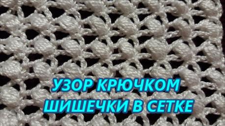 Узор крючком шишечки в сетке (458x258, 217Kb)