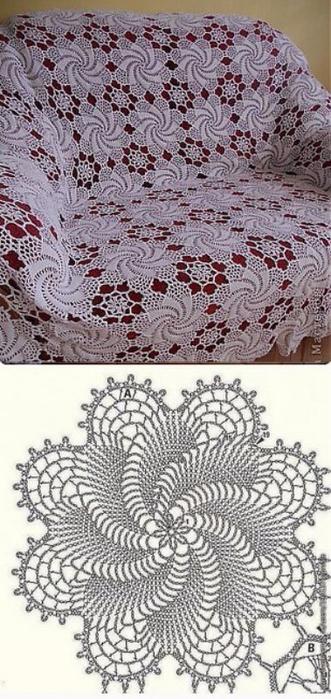 Вязание крючком покрывала на диван или кровать схемы 46