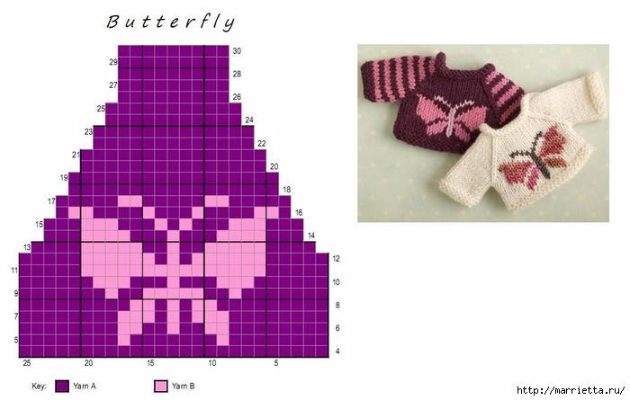 Вязание спицами свитеров для кукол. Схемы (1) (700x445, 150Kb)