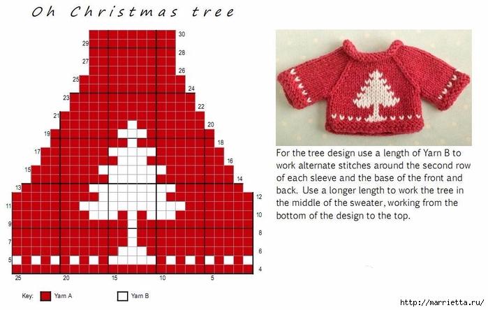 Вязание спицами свитеров для кукол. Схемы (4) (700x444, 194Kb)