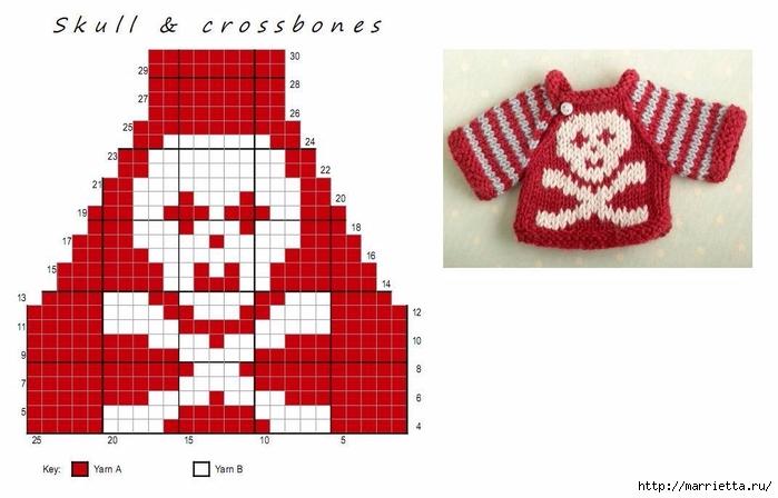Вязание спицами свитеров для кукол. Схемы (9) (700x448, 163Kb)