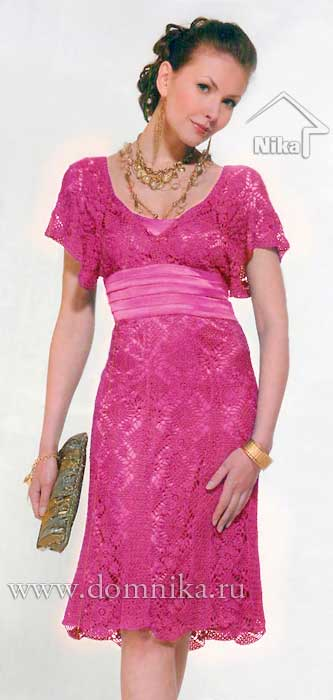 Схема вязания платья крючком мотивами на подкладке