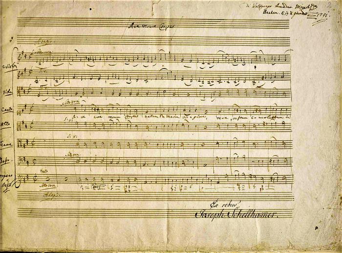 Ave verum corpus  К. 618   Первая страница партитуры Моцарта. На последней строчке стоит надпись Аббата Штадлера (700x517, 706Kb)