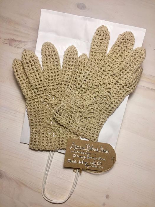 Льняные перчатки ручной работы