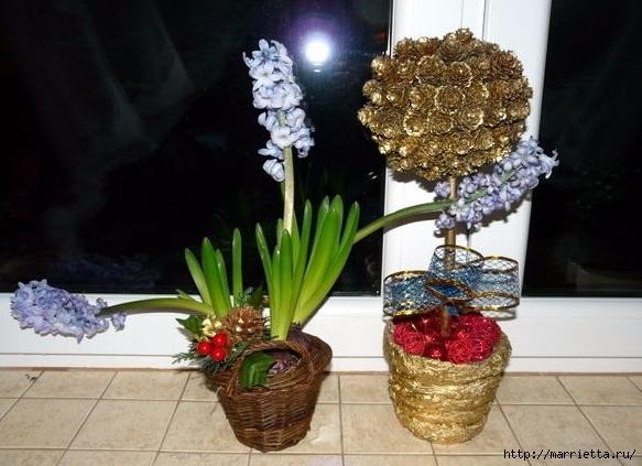 Цветы из шишек, семечек, листьев кукурузы, фисташек и макарон (4) (583x423, 170Kb)