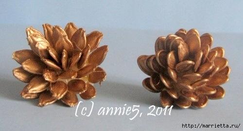 Цветы из шишек, семечек, листьев кукурузы, фисташек и макарон (19) (500x269, 84Kb)