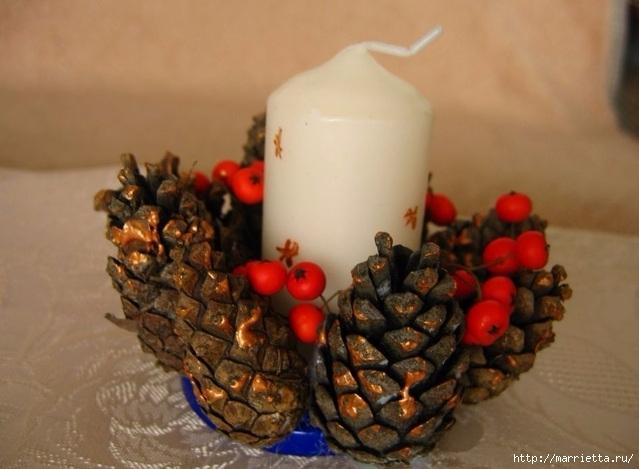 Цветы из шишек, семечек, листьев кукурузы, фисташек и макарон (32) (639x469, 155Kb)