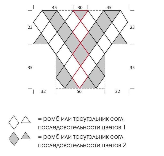 схема вязания ромба в ромбе спицами