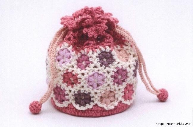 Цветочный мешочек крючком. Схемы вязания (2) (649x425, 188Kb)