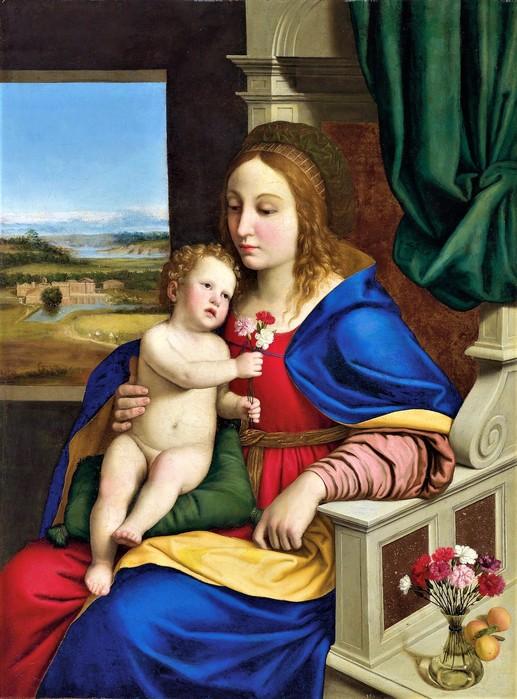 Мадонна с гвоздикой   (Madonna of the Carnation)  109.5 х 82  х.,м.    Частное собрание (517x700, 112Kb)