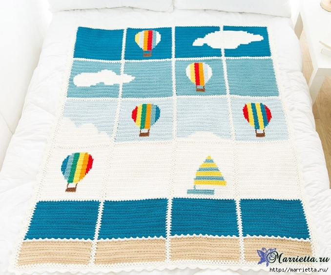 儿童钩针床罩、毯、巾(大海、帆船和气球) - maomao - 我随心动
