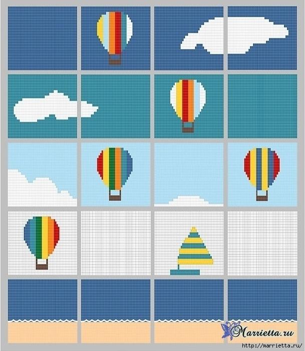 Крючком. Детский плед с морем, парусниками и воздушными шарами (8) (609x700, 296Kb)