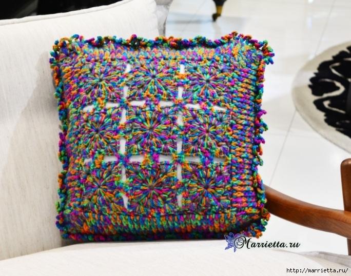 Интерьерная подушка крючком из меланжевой пряжи (2) (684x538, 272Kb)