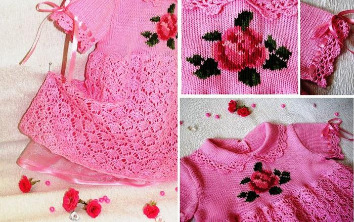 Как украсить вязаное платье для девочки своими руками 1