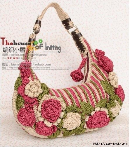 Крючком. Весенняя сумочка с цветами (4) (445x501, 201Kb)