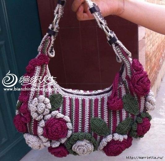 Крючком. Весенняя сумочка с цветами (8) (533x519, 177Kb)