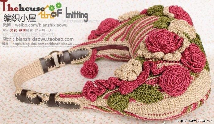 Крючком. Весенняя сумочка с цветами (12) (699x404, 250Kb)