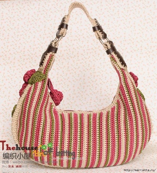 Крючком. Весенняя сумочка с цветами (20) (596x659, 361Kb)