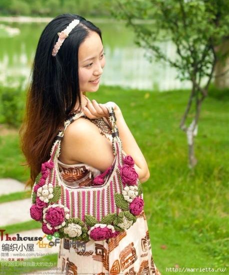 Крючком. Весенняя сумочка с цветами (22) (458x551, 192Kb)