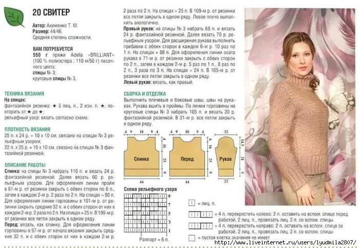 Схема вязания свитера без швов