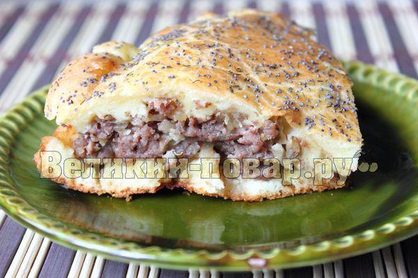Заливной пирог на кефире с фрикадельками